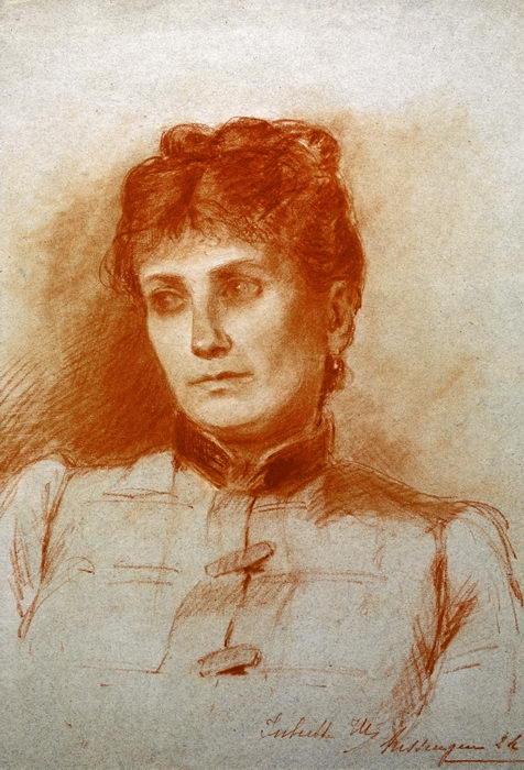 Louise Massenet par sa fille Juliette vers 1887. Sanguine